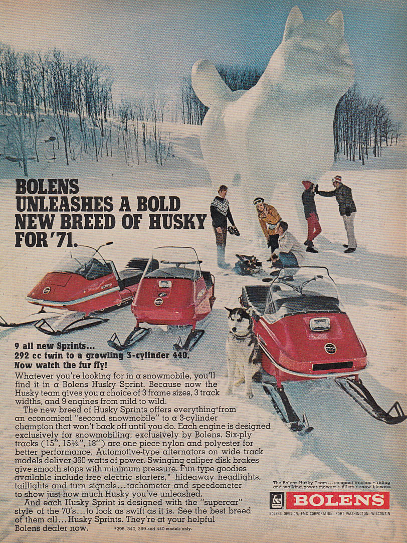 A bold new breed for '71 Bolens Husky Sprint snowmobile magazine ad 1971