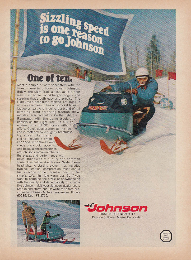 Sizzling Speed Johnson Light-Trac Rampage snowmobile magazine ad 1971