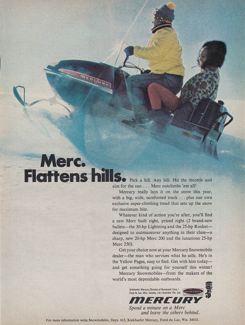 Image for Flattens hills - Mercury snowmobile magazine ad 1971