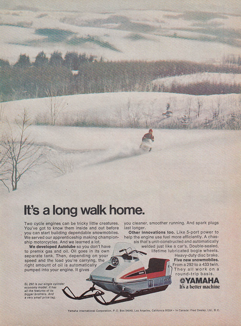 It's a long walk home Yamaha SL 292 snowmobile magazine ad 1971