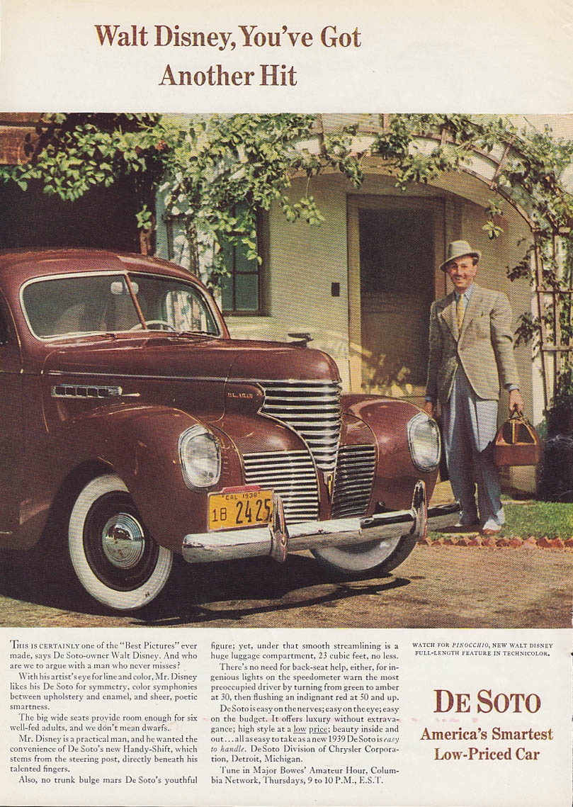 Walt Disney, You've Got Another Hit - De Soto ad 1939 T