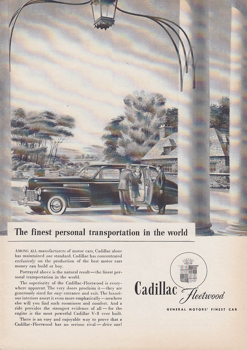 Finest personal transportation in the world Cadillac Fleetwood ad 1941 T