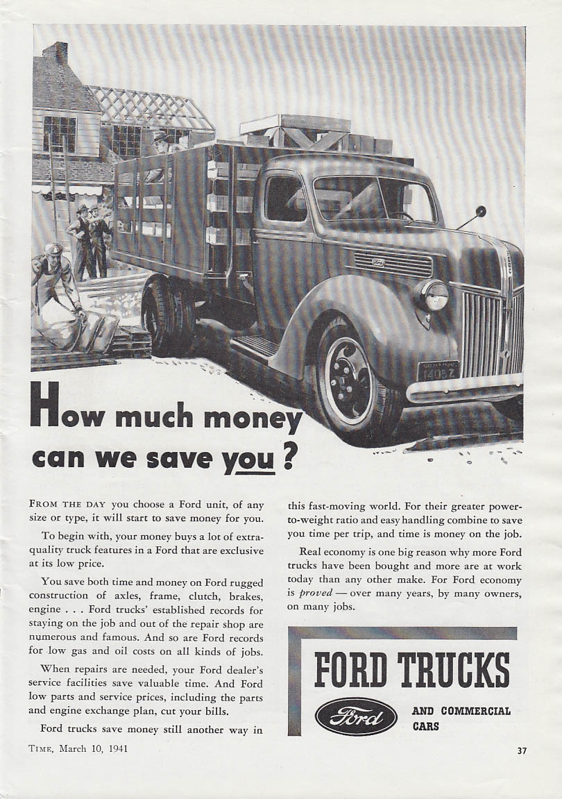Ads Ford Trucks 1941 Panel Delivery Truck Stakeside Ad T
