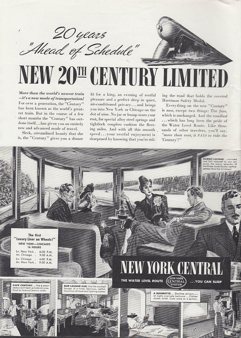 20 Years Ahead of Schdule New York Central 20th Century Limited ad 1938 T