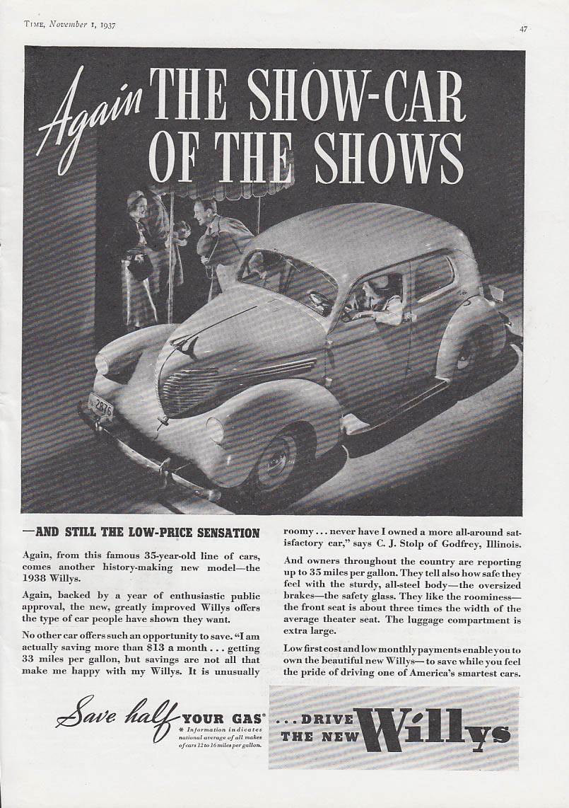 Again  The Show-Car of the Shows - Willys Coupe ad 1938 Time