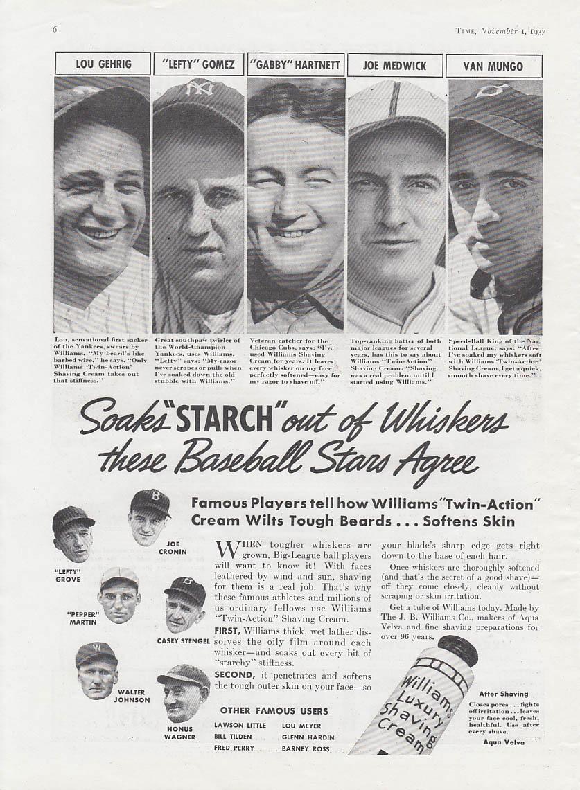 Image for Williams Shaving Cream ad 1937 Gehrig Medwick Gomez Hartnett Mungo Stengel +
