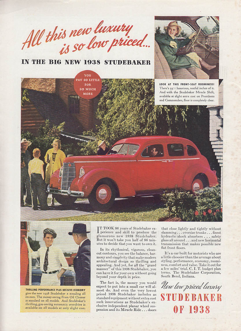 All this new luxury so low priced Studebaker Sedan ad 1938 T