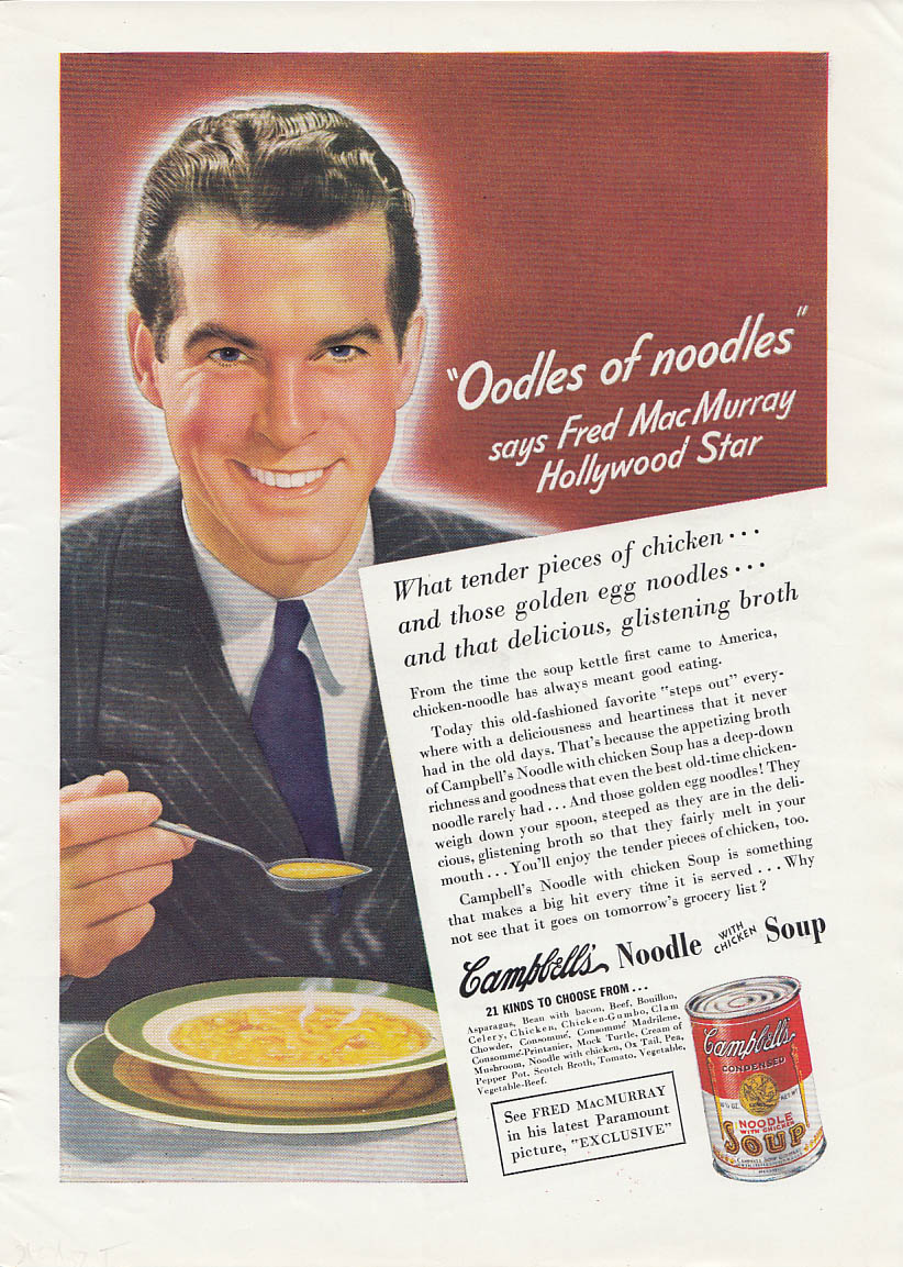 Image for Fred MacMurray Campbell Soup  / Brilliant new Hupmobile ad 1938 T