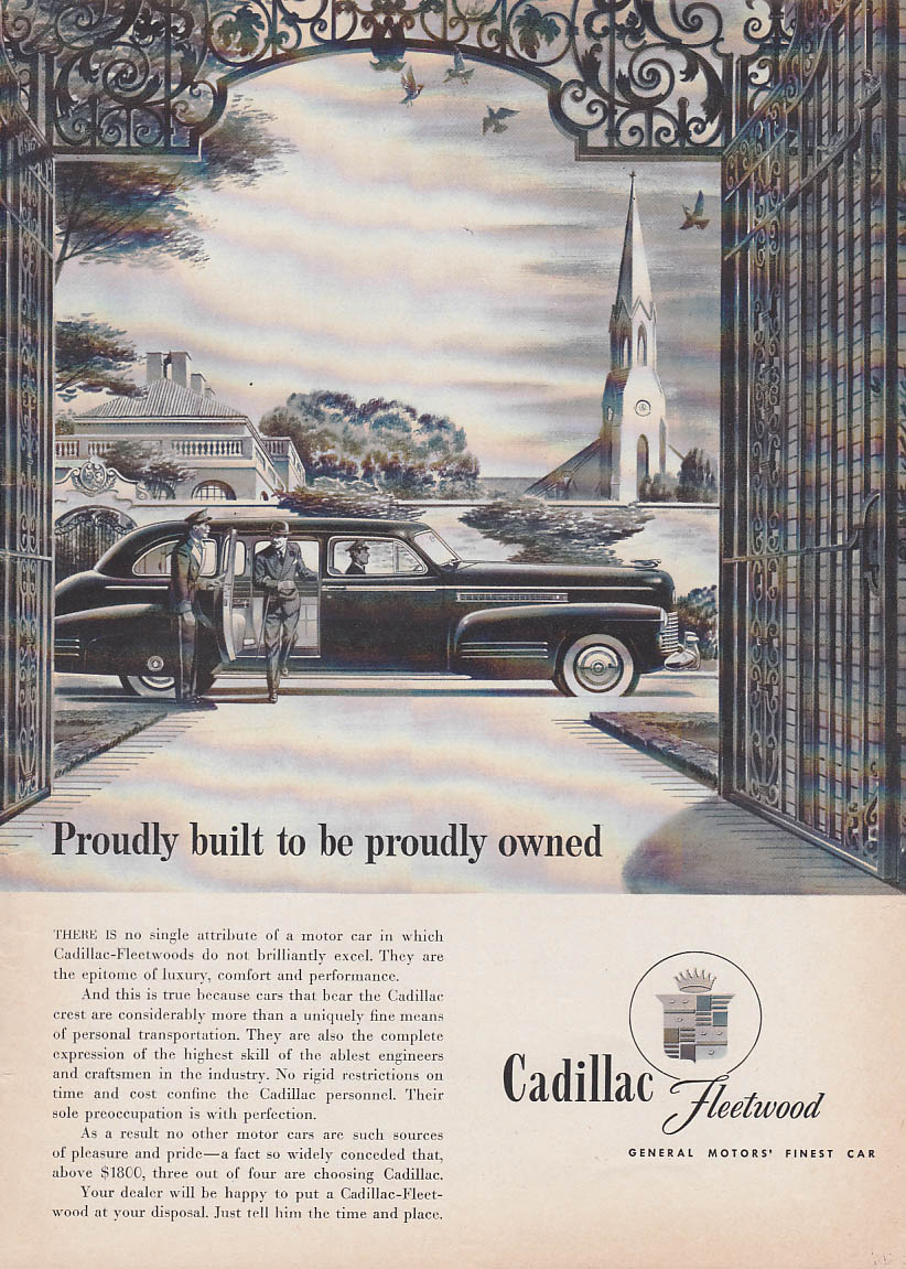 Image for Proudly built to be proudly owned Cadillac Fleetwood ad 1941 T