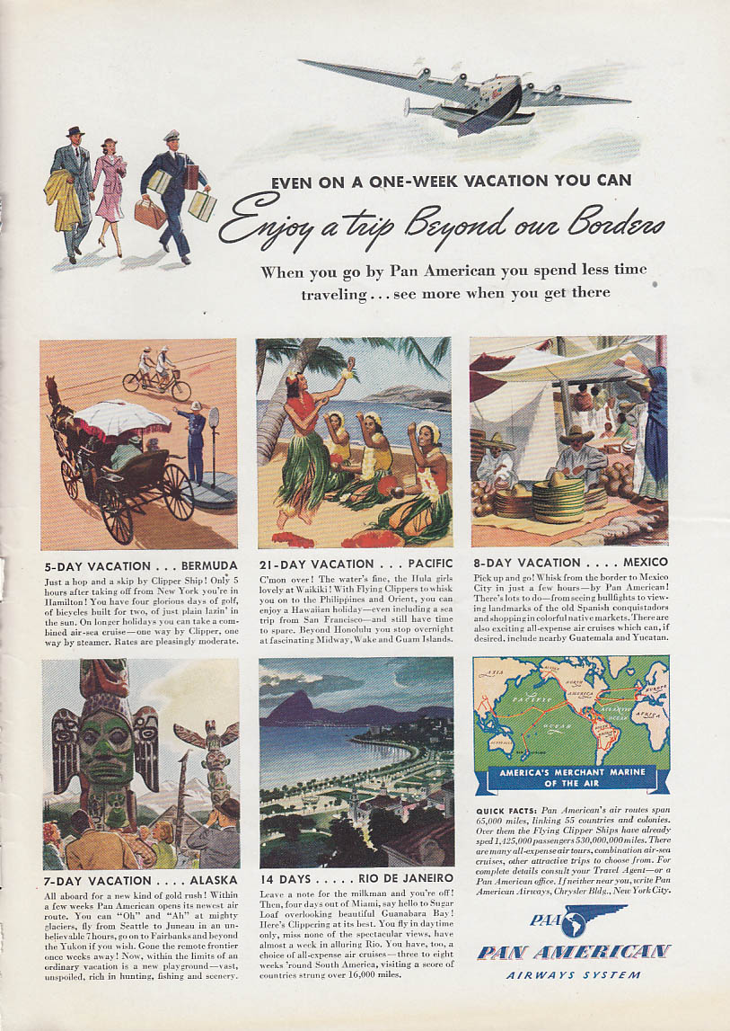 Image for Enjoy a trip Beyond our Borders Pan American Airways Clipper ad 1940 T