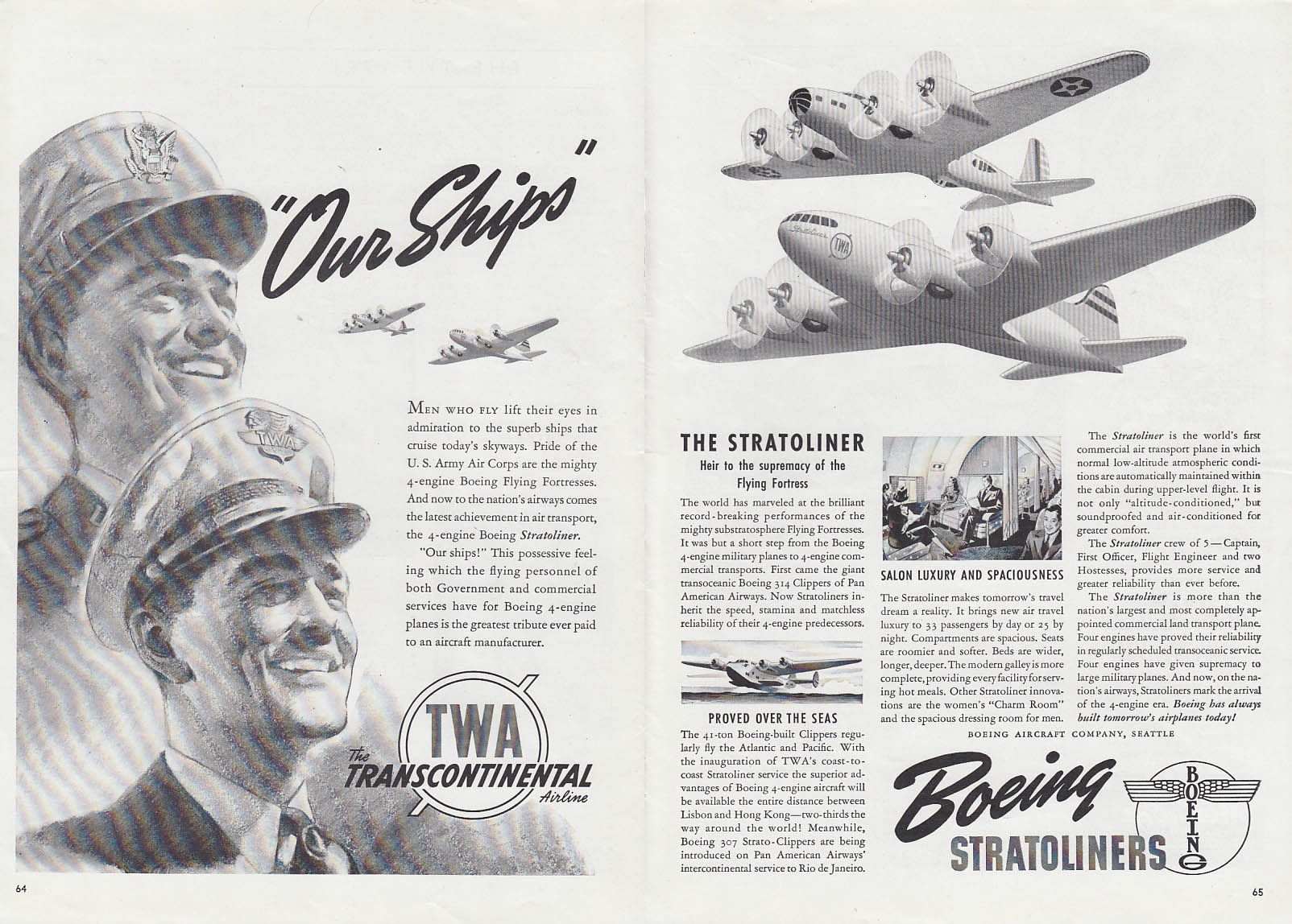Image for Our Ships TWA Stratoliner Boeing B-17 Flying Fortress ad 1940 T