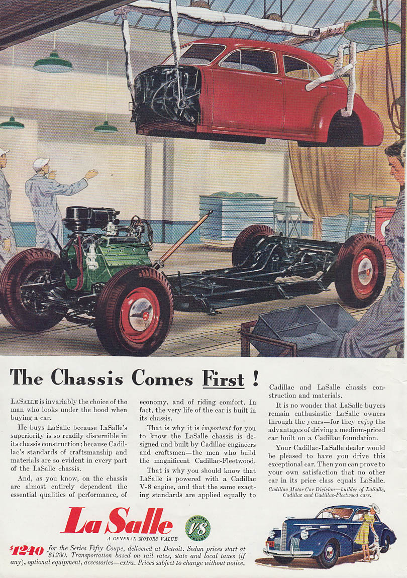 Image for The Chassis Comes First! La Salle ad 1940 T
