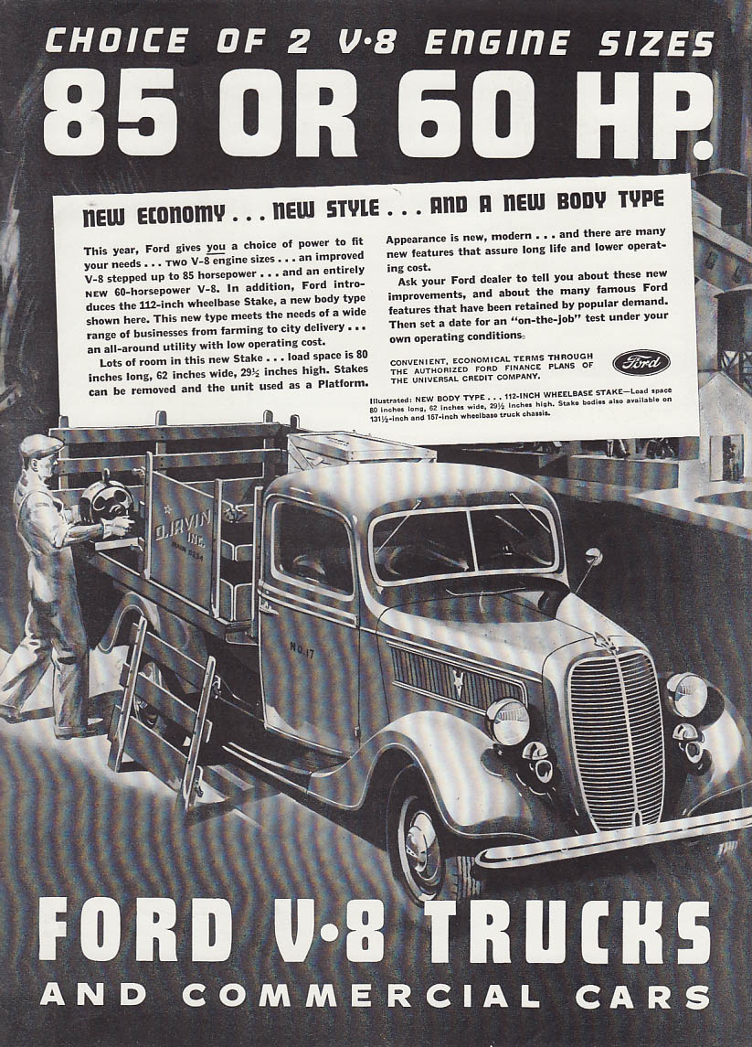 Choice of 2 V-8 Engines 85 or 60 HP Ford Stakeside Truck ad 1937 T