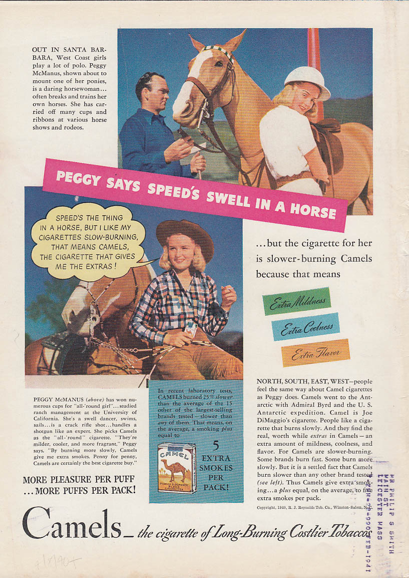 Image for Polo player & rodeo rider Peggy McManus for Camel Cigarettes ad 1940 T