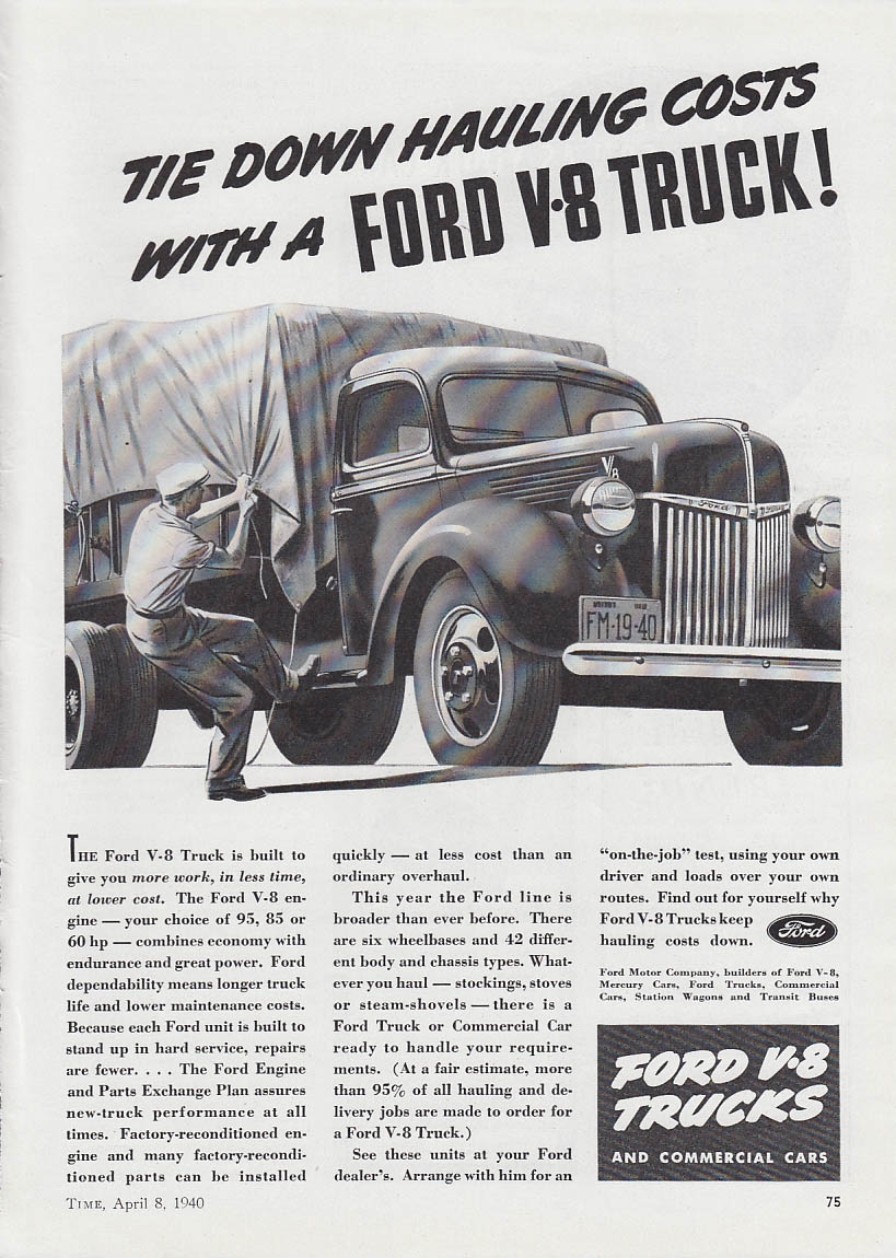 Image for Tie Down Hauling Costs with a Ford V-8 Truck ad 1940 T