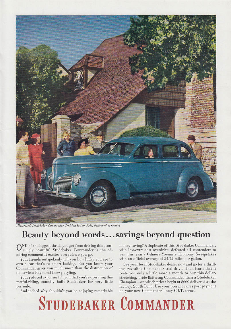 Image for Beauty beyond words savings beyond question Studebaker Commander ad 1940 T