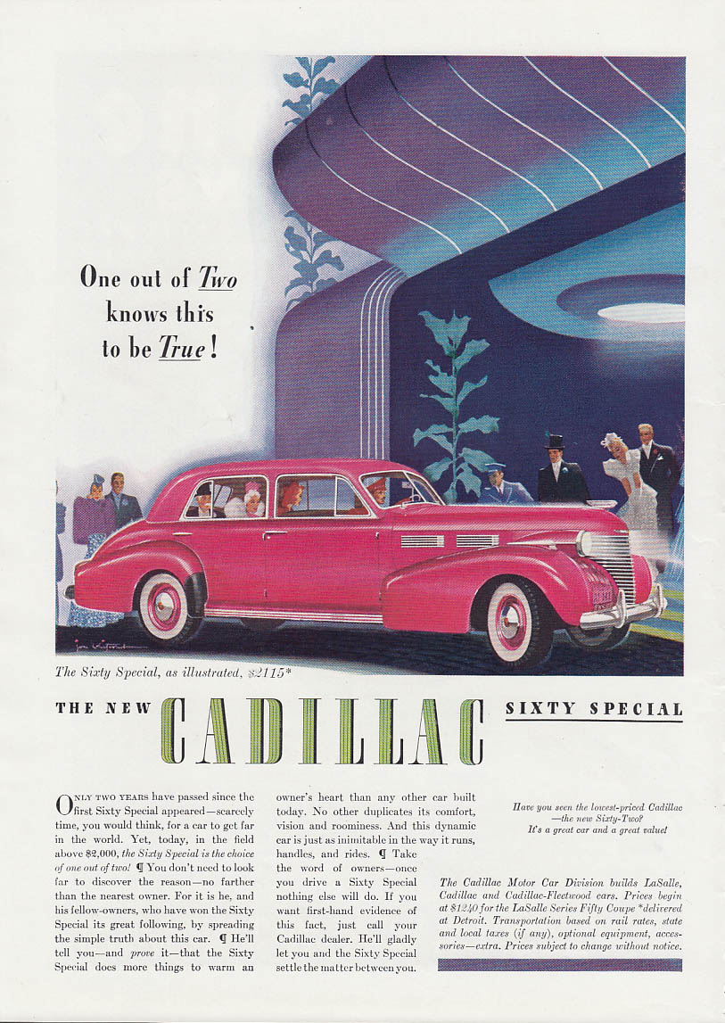 Image for One out of Two knows this to be true! Cadillac Sixty Special ad 1940 T