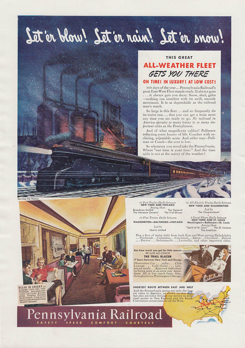 Let 'er blow - rain - snow! Pennsylvania Railroad All-Weather Fleet ad 1941 T