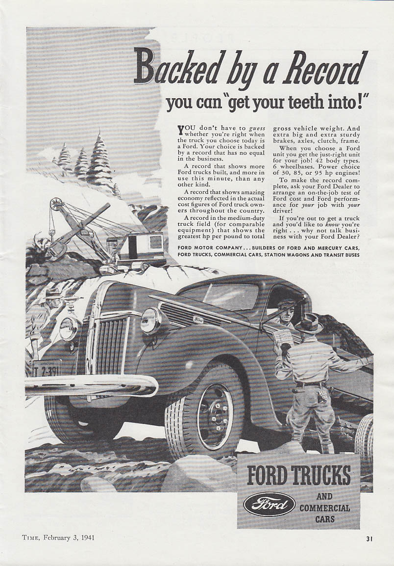 Backed by a Record you can get your teeth into Ford Dumptruck ad 1941 T