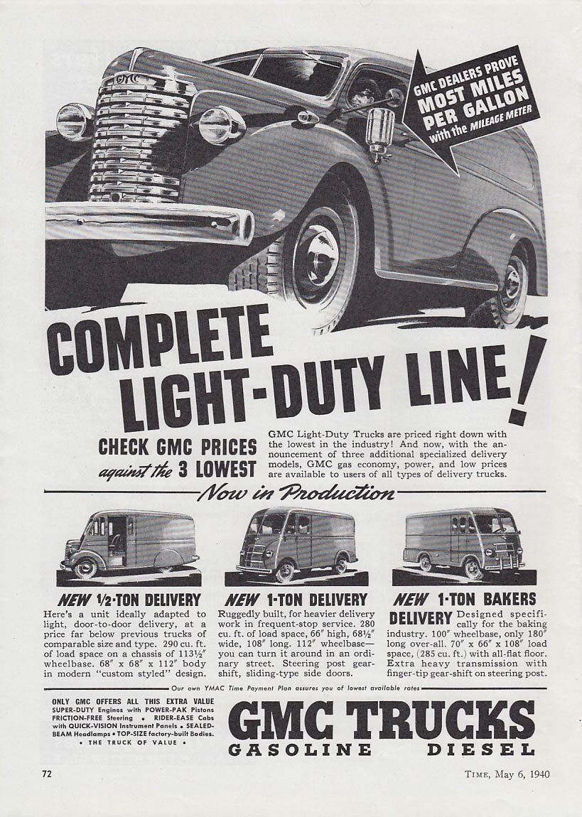 Image for Complete Light-Duty Line GMC Panel & Delivery Trucks ad 1940 T