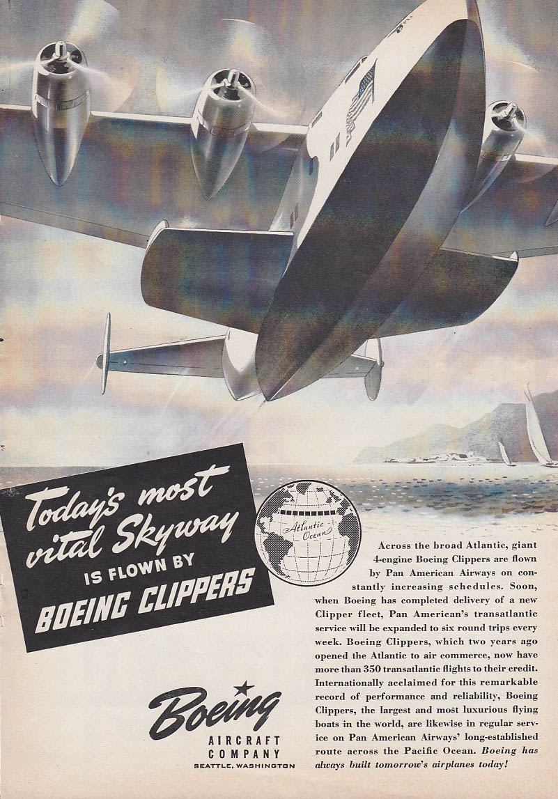 Image for Today's most vital Skyway flown by Boeing Clippers ad 1941 T