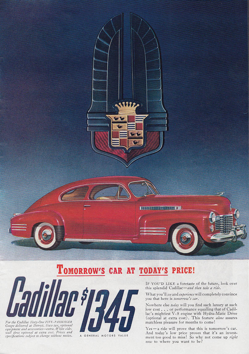 Image for United Air Lines Scenic Circle DC-3 / Tomorrow's Cadillac today's price ad 1941