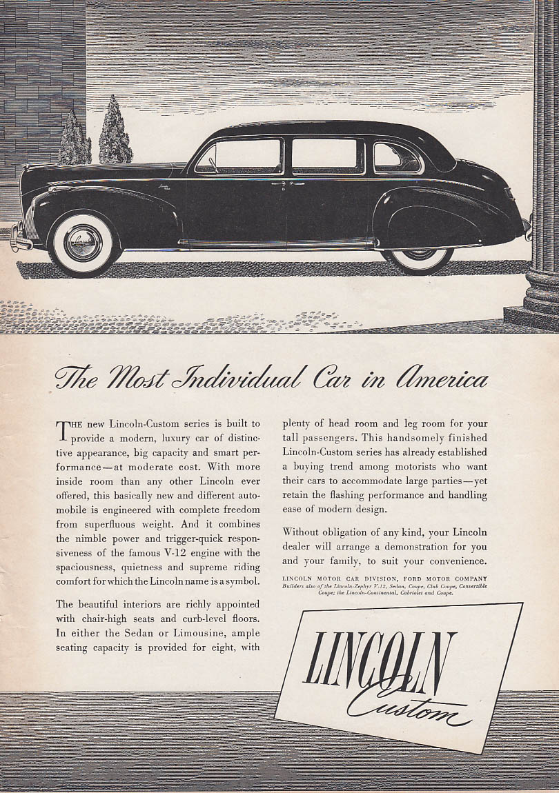 Image for The Most Individual Car in America Lincoln Custom Limousine ad 1941 T