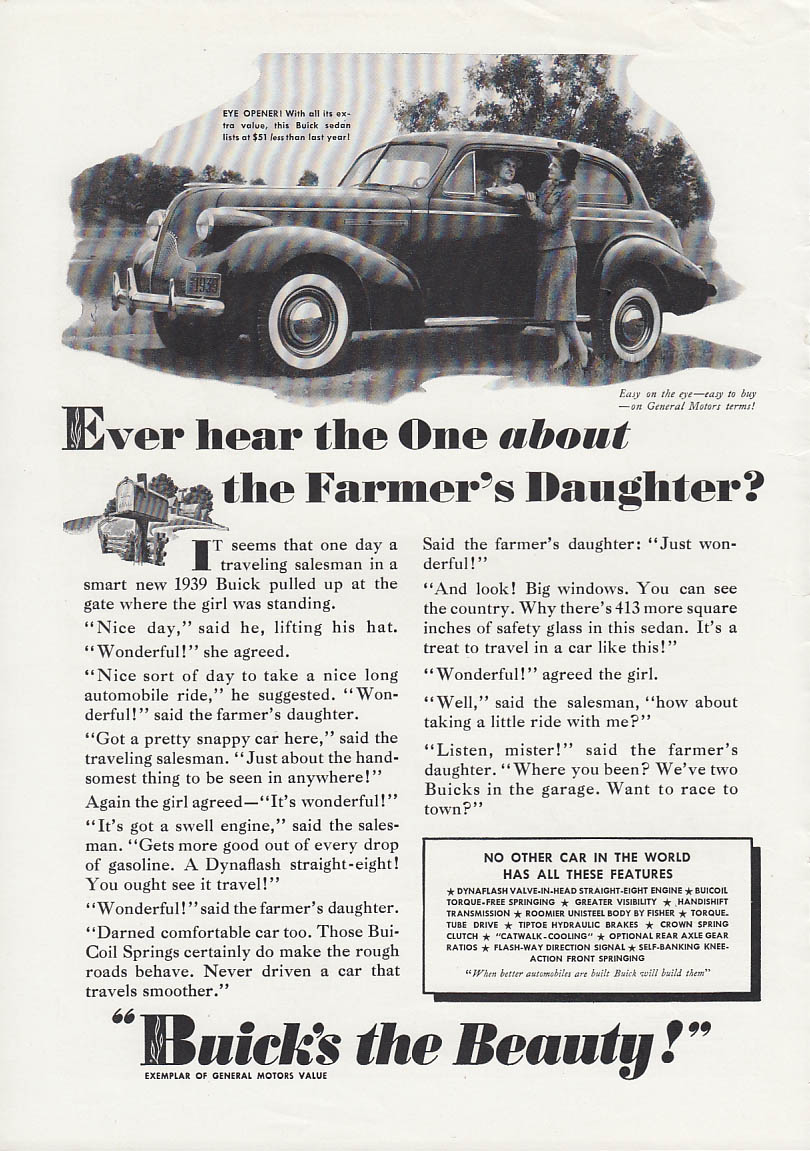 Image for Ever hear the One about the Farmer's Daughter? Buick 2-dr Sedan ad 1939 T