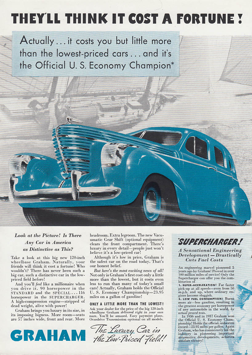 Image for They'll think it cost a fortune! Graham Supercharger Sedan ad 1938 T
