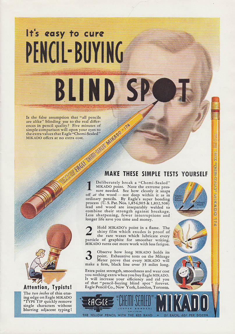 Easy to cure Pencil-Buying Blind Spot Eagle Mikado Pencil ad 1939 T