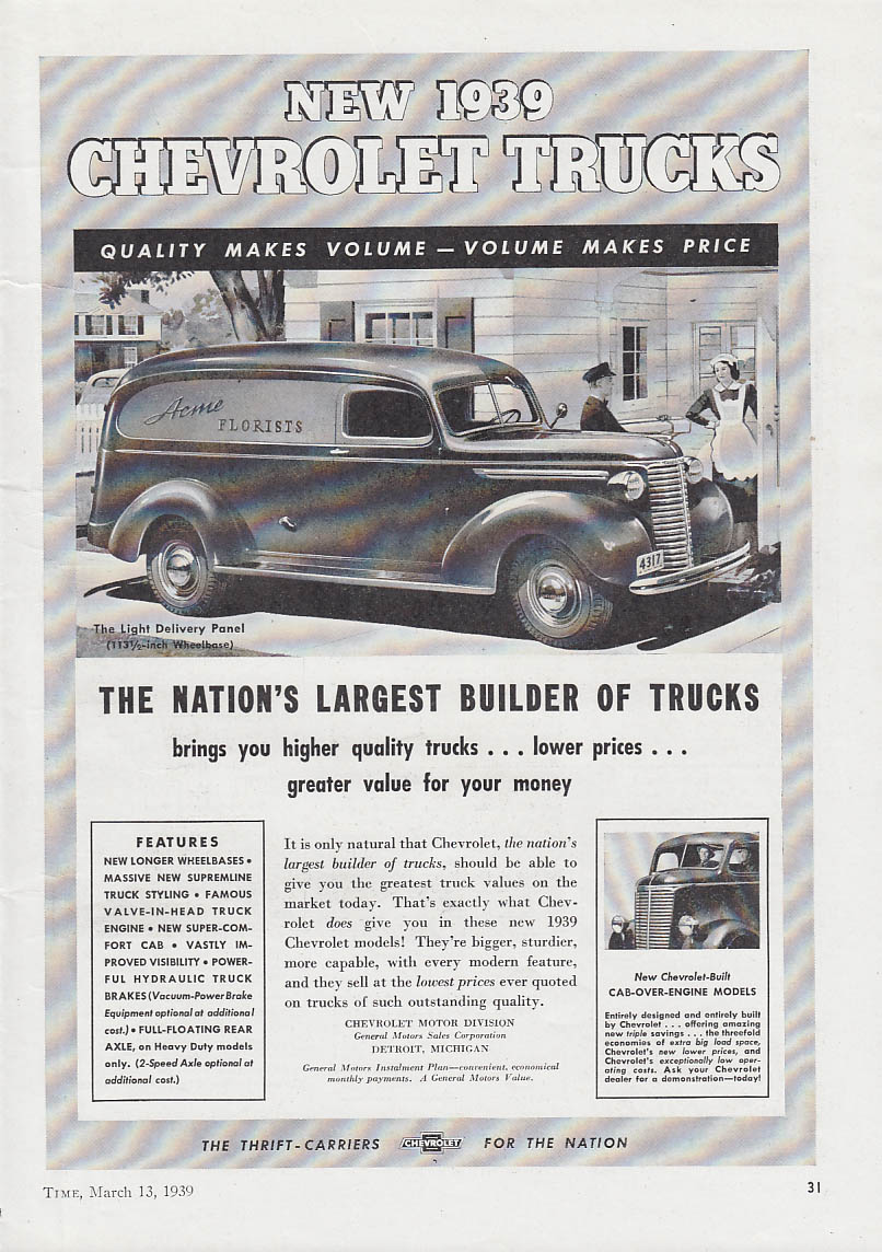 Image for Nation's Largest Builder of Trucks Chevrolet Panel Delivery ad 1939 T