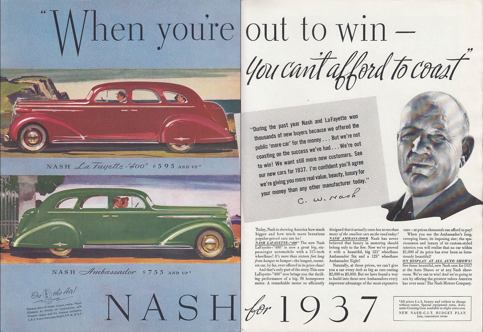 Image for When you're out to win you can't coast Nash La Fayette Ambassador ad 1937