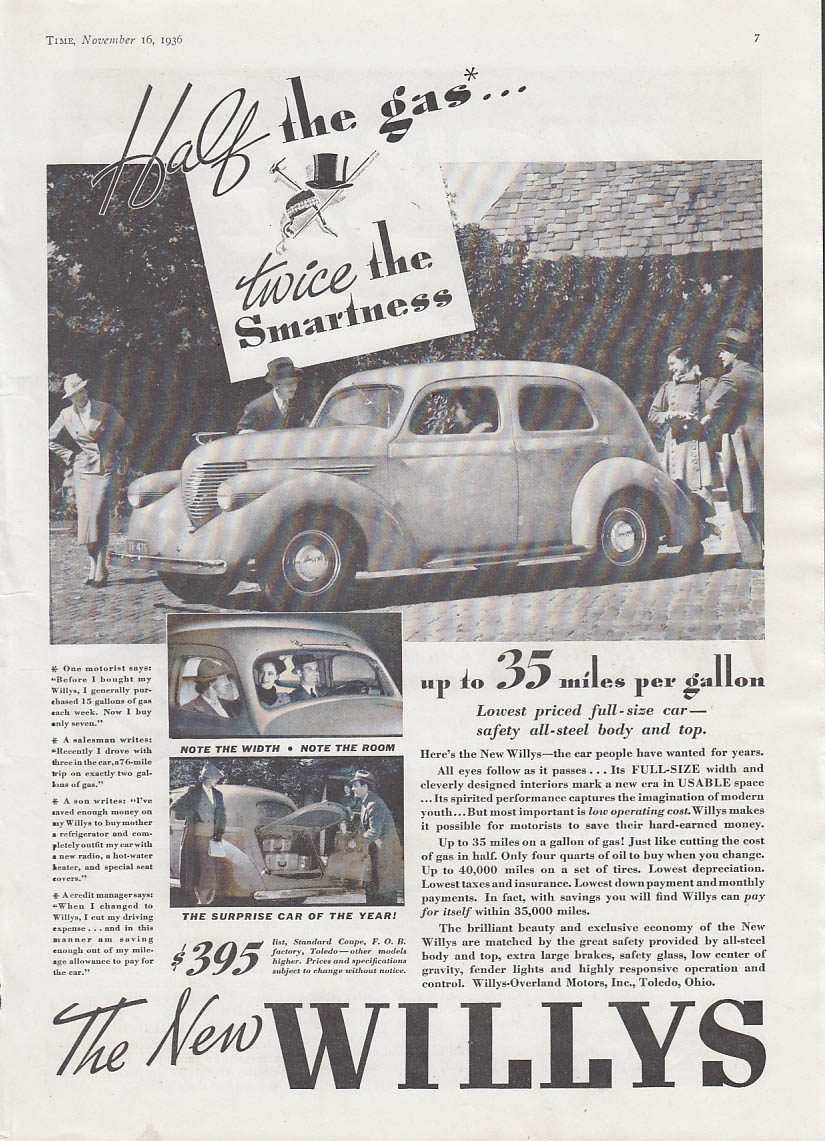 Image for Half the gas - twice the smartness - The New Willys ad 1937 T