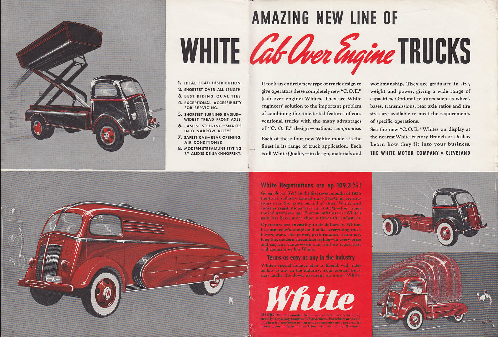 Amazing new line of White Cab Over Engine Trucks ad 1937 T