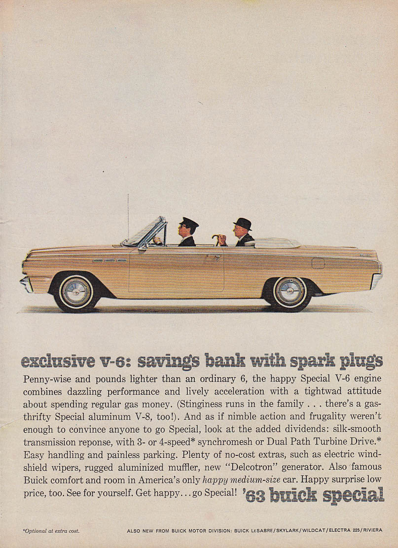 Image for Exclusive V-6 savings bank with spark plugs Buick Special Convertible ad 1963 T