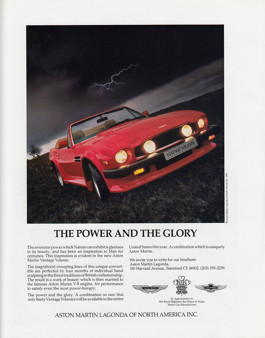 Image for The Power & the Glory Aston Martin Vantage Volante ad 1987 1988 T&C