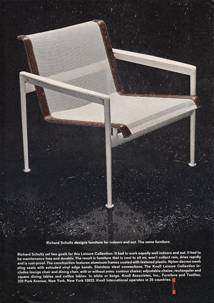 Richard Schultz designs furniture for indoors & out Knoll Associates ad 1967