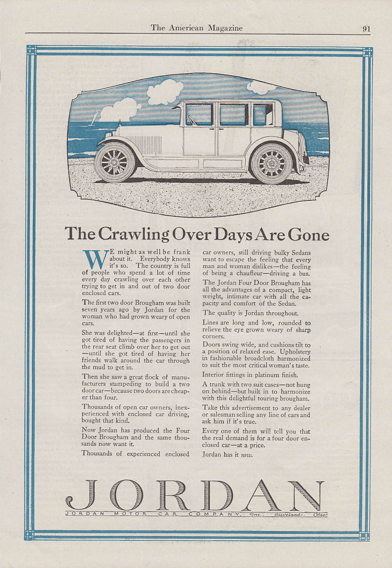 Image for The Crawling Over Days Are Gone - Jordan 4-door Brougham ad 1923 AM