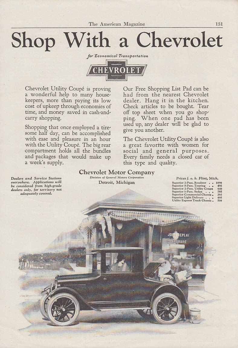 Image for Shop with Chevrolet Utlity Coupe ad 1924 AM