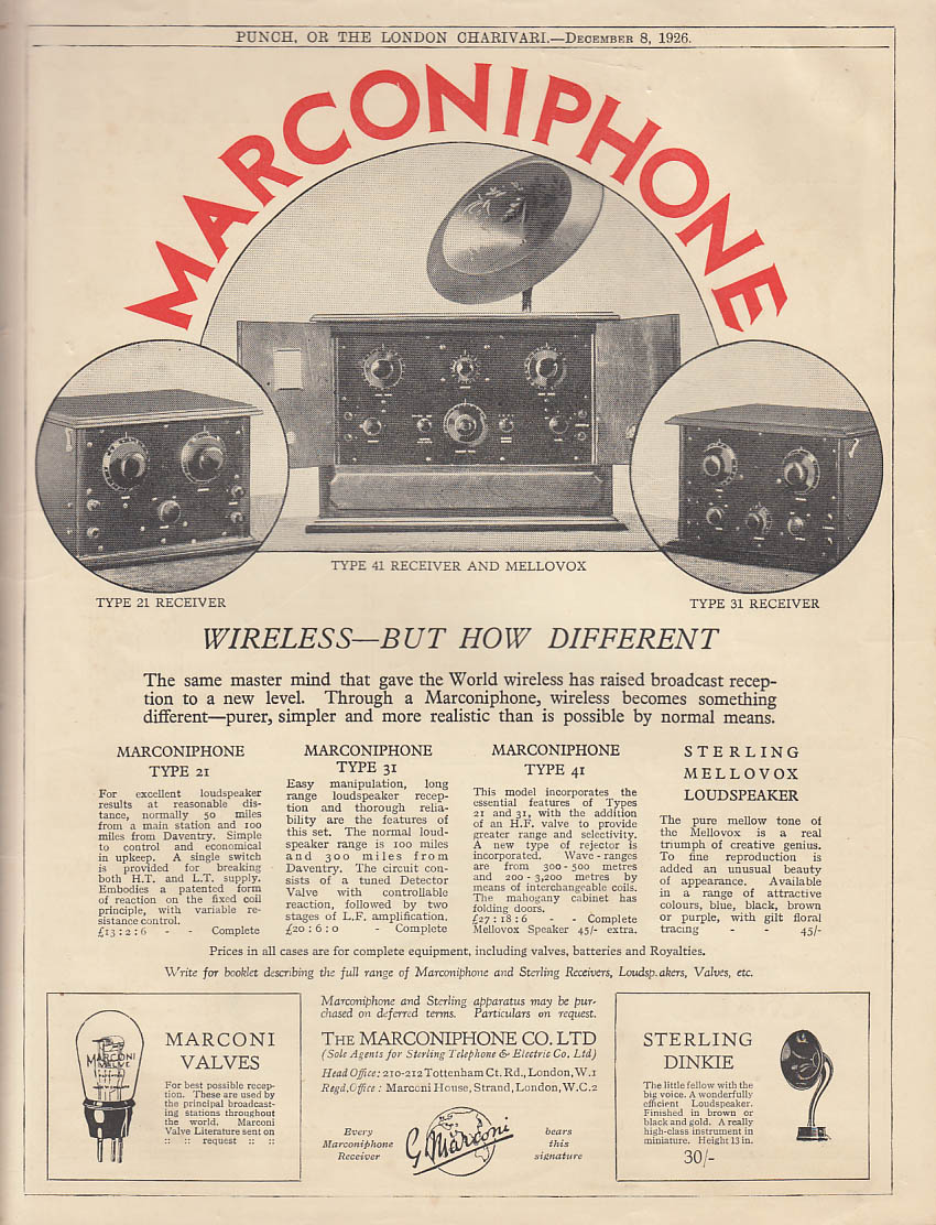 Wireless - but How Different - Marconiphone Radio Receiver ad 1926 British