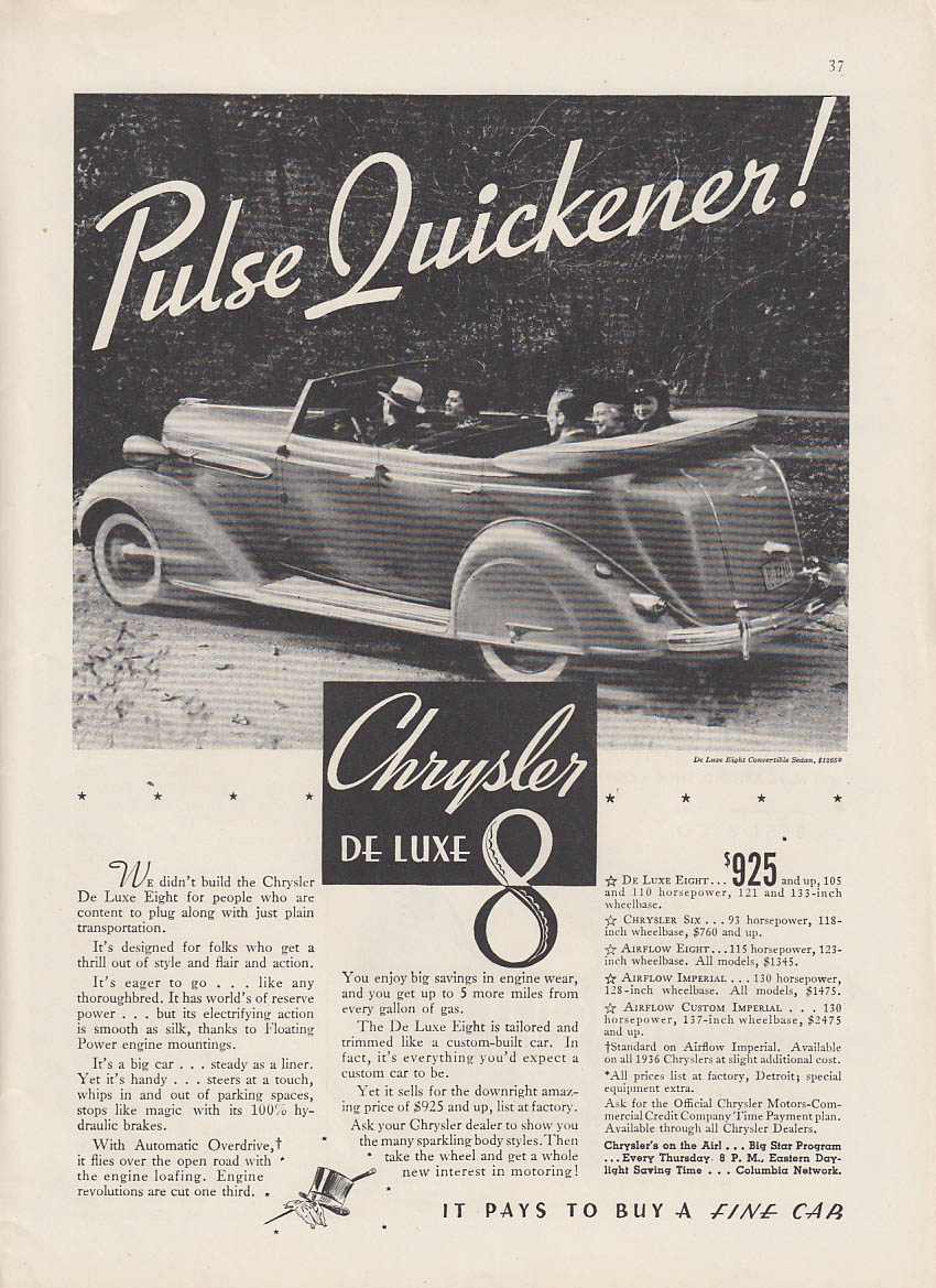 Image for Pulse Quickener! Chrysler De Luxe 8 Convertible Sedan ad 1936 NY