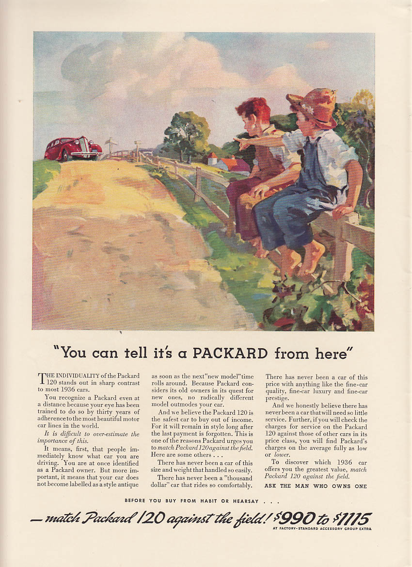 Image for You can tell it's a Packard from here ad 1936 NY model 120