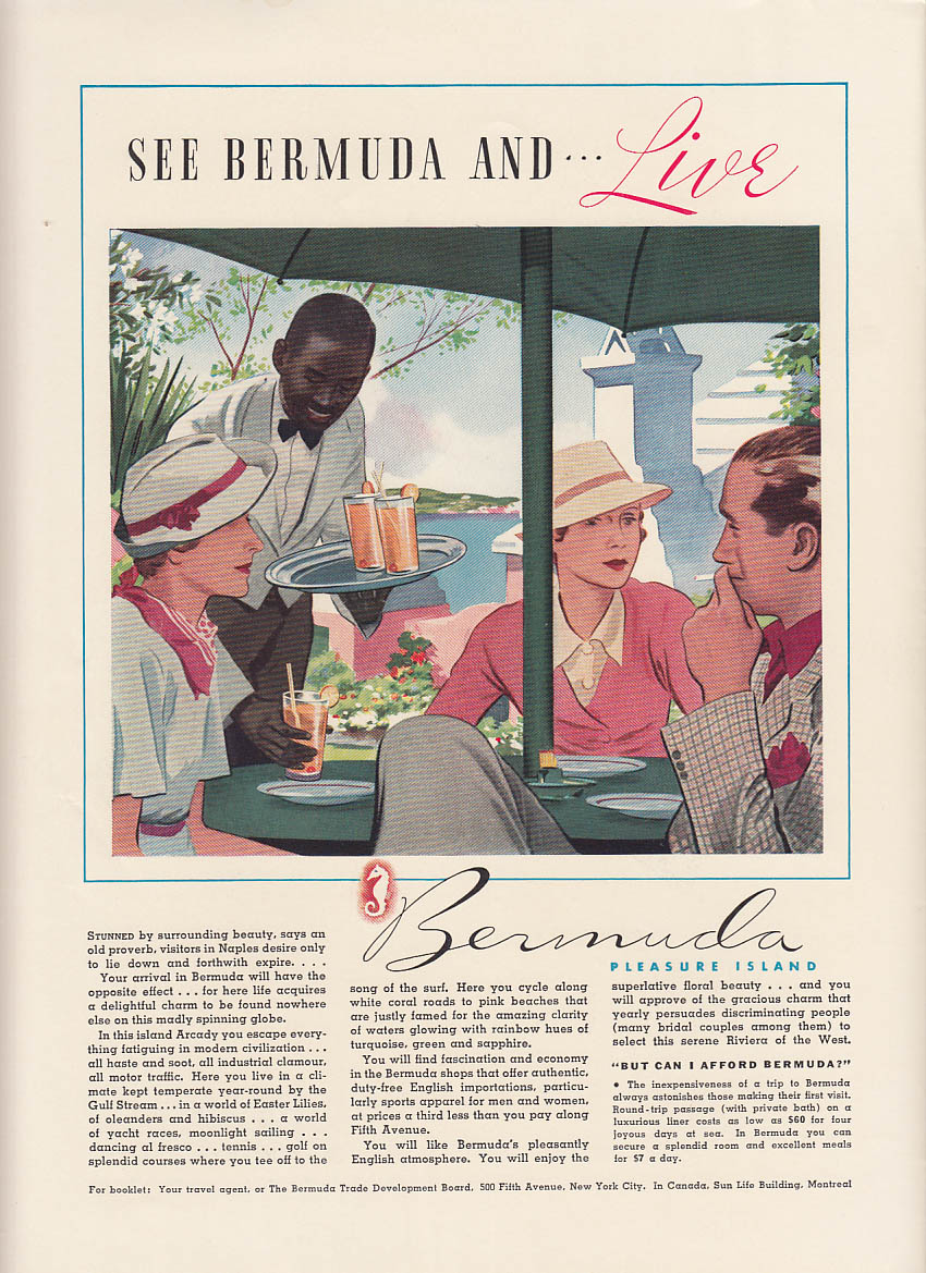 See Bermuda and Live! Pleasure Island ad 1936 NY