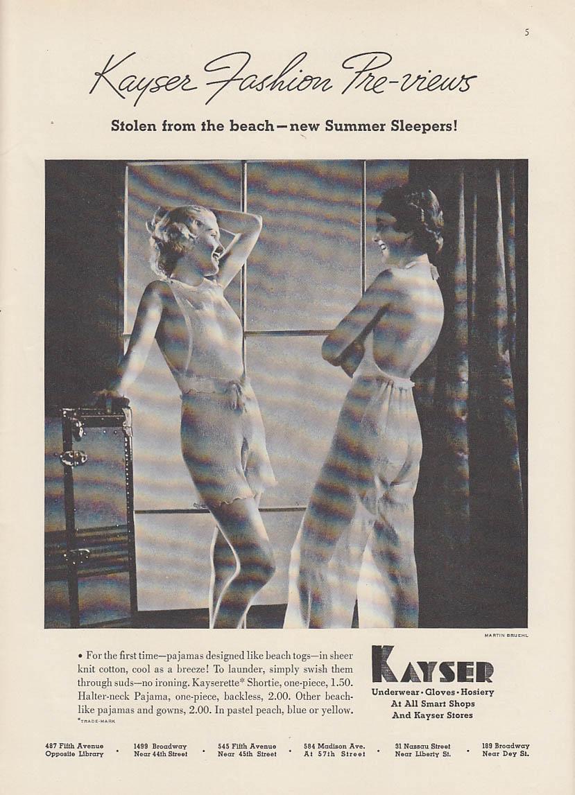 Image for Stoloen from the beach - Kayser Shortie & Halter-Neck Pajamas ad 1936 NY