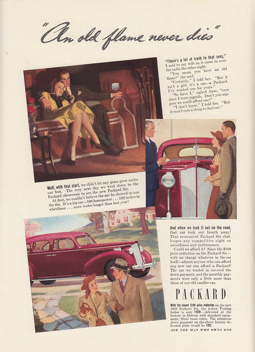 An old flame never dies - Packard Six ad 1938 NY