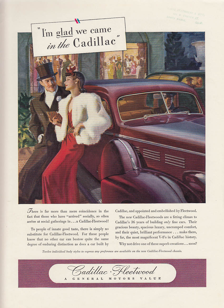 I'm glad we came in the Cadillac Fleetwood ad 1938 NY
