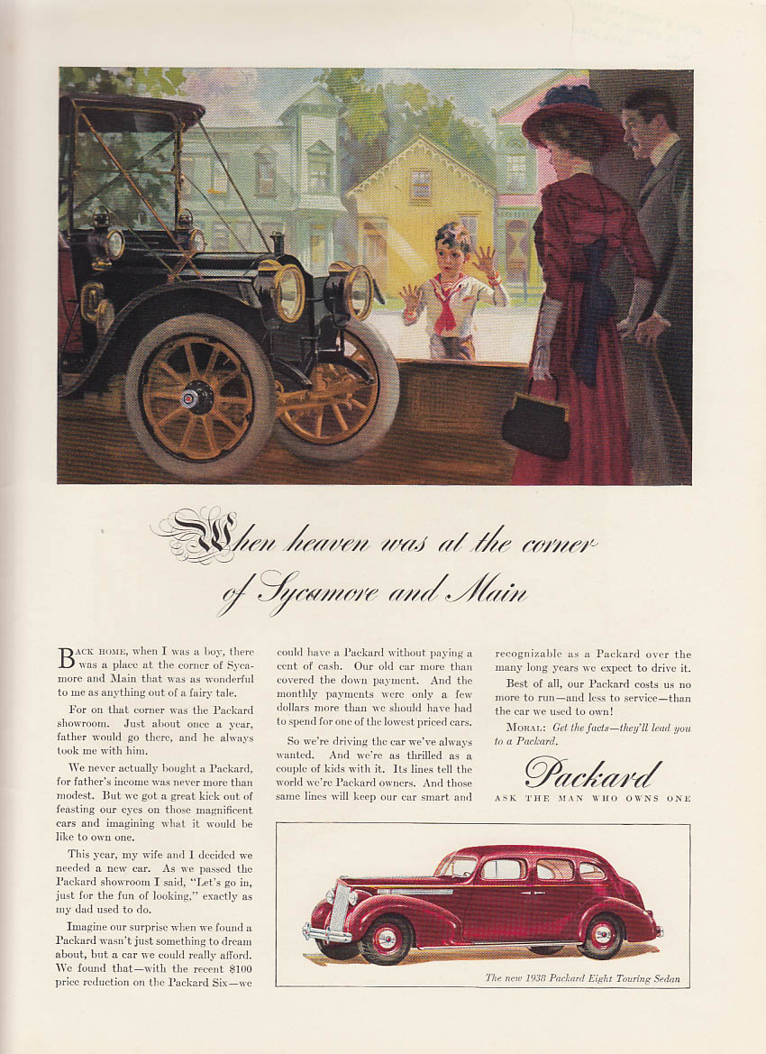 When heaven was at the corner of Sycamore & Main - Packard Eight ad 1938 NY