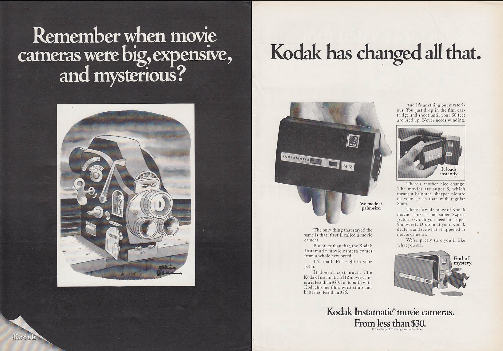 Image for Remember when movie cameras were big? Kodak ad 1968 Chas Addams art