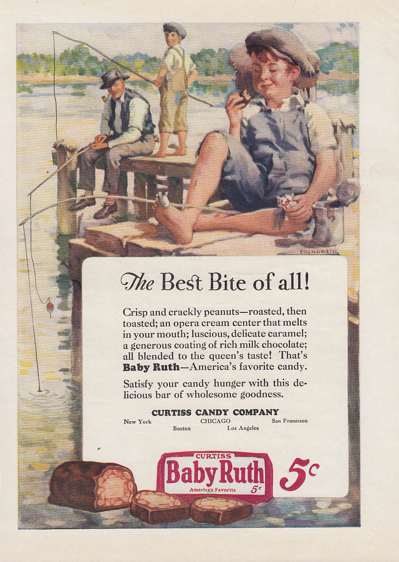 Image for The Best Bite of All! Baby Ruth Candy Bar ad 1926 kids fishing by Chenoweth