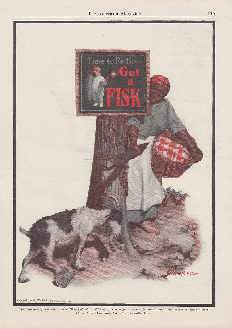 Billy goat vs Black Mammy - Fisk Tires ad 1926 Leslie Thrasher art